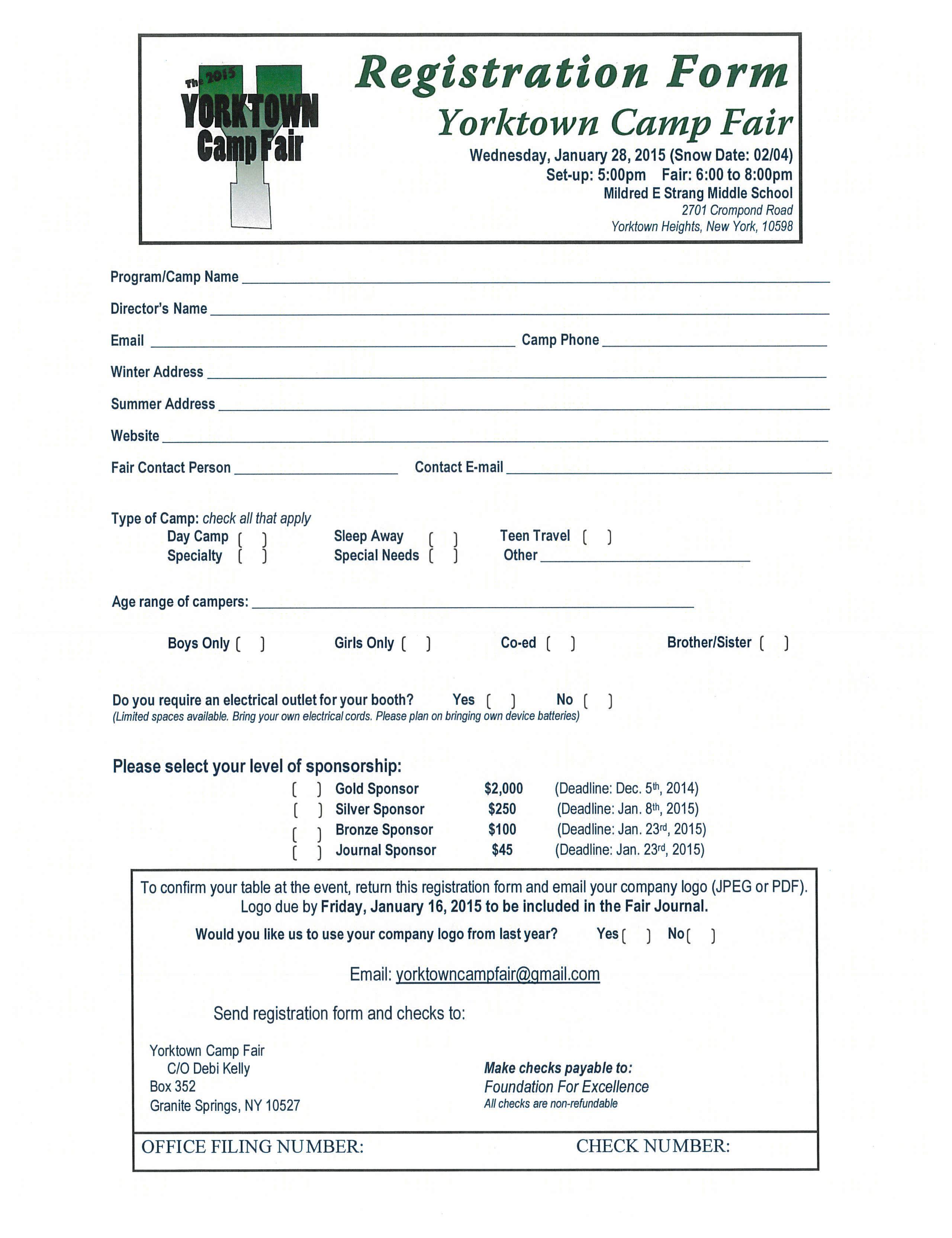 Yorktown Camp Fair 2015 Registration